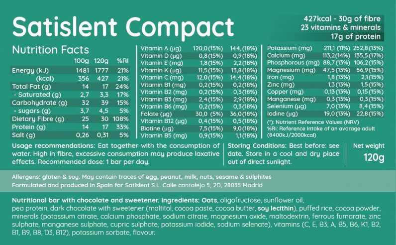 Satislent Compact Nutrition Label