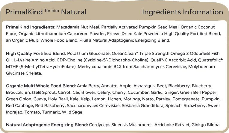 Primal Kind for Him 1.0 Ingredients.