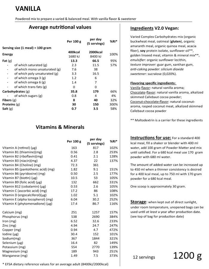 Powder matter Nutrition facts