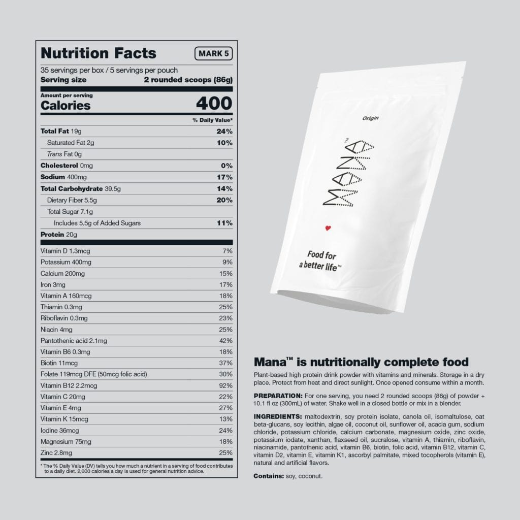 Mana US Origin Nutrition Label