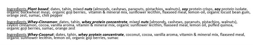 Powdermatter bar ingredients