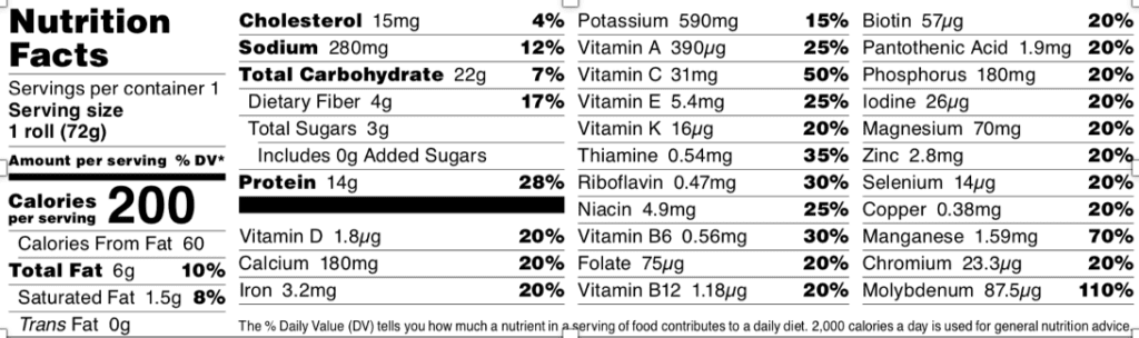 Base Bread US Nutrition label