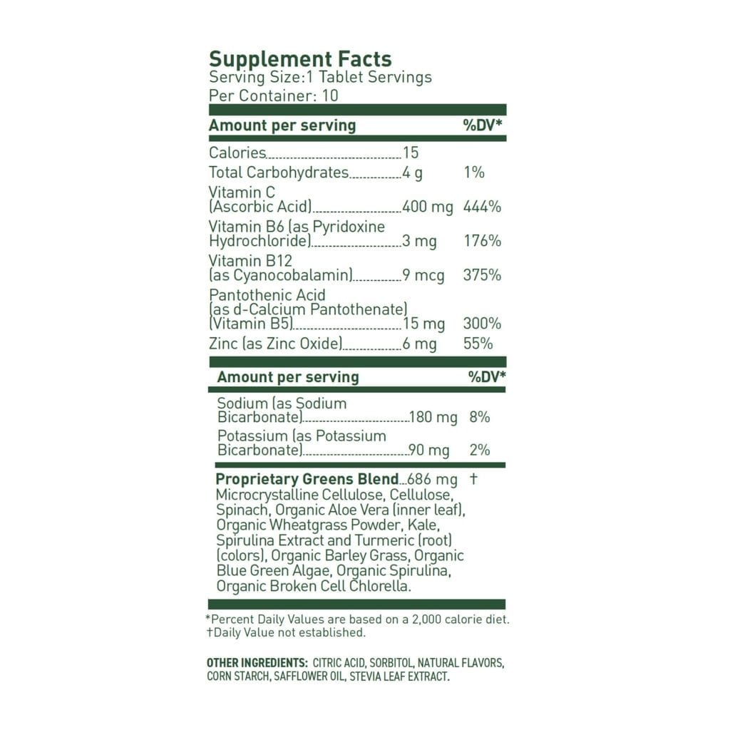 8 greens nutrition table