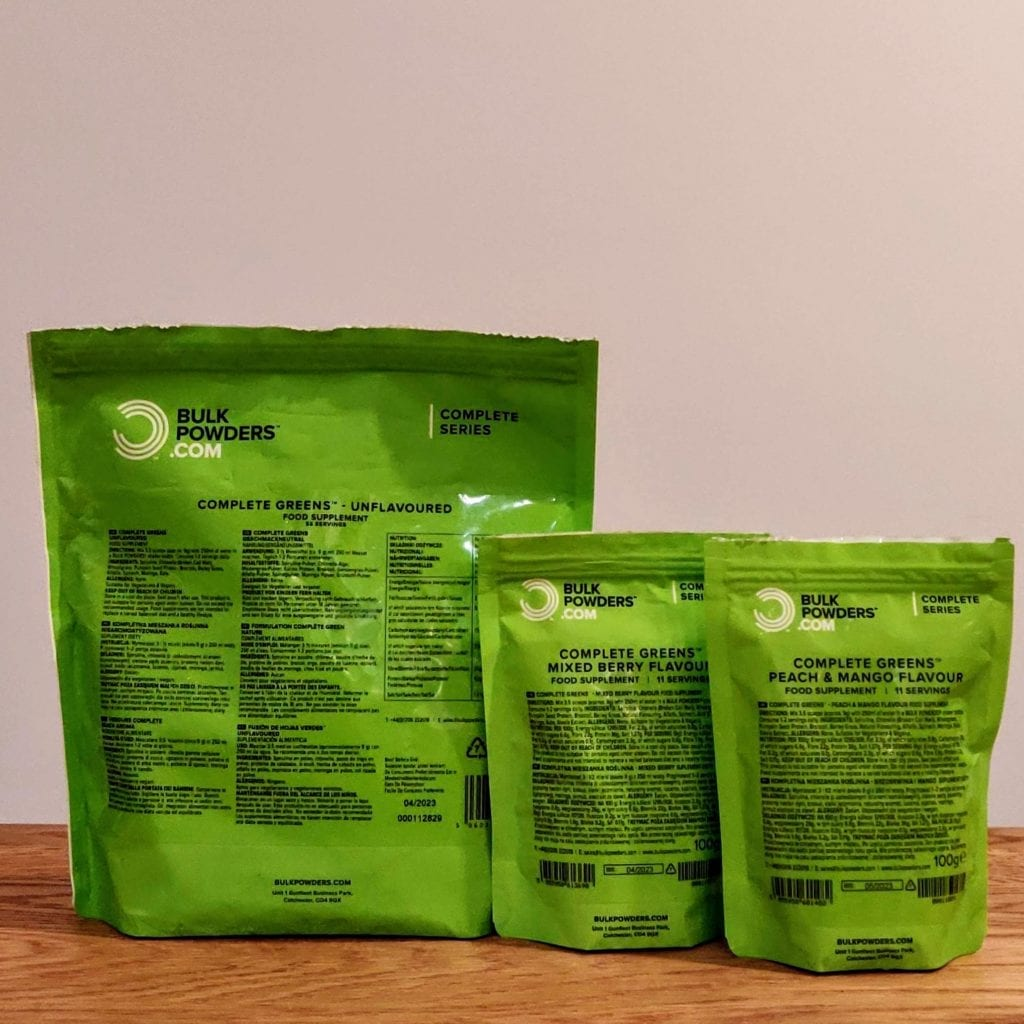 Complete Greens bags sizes