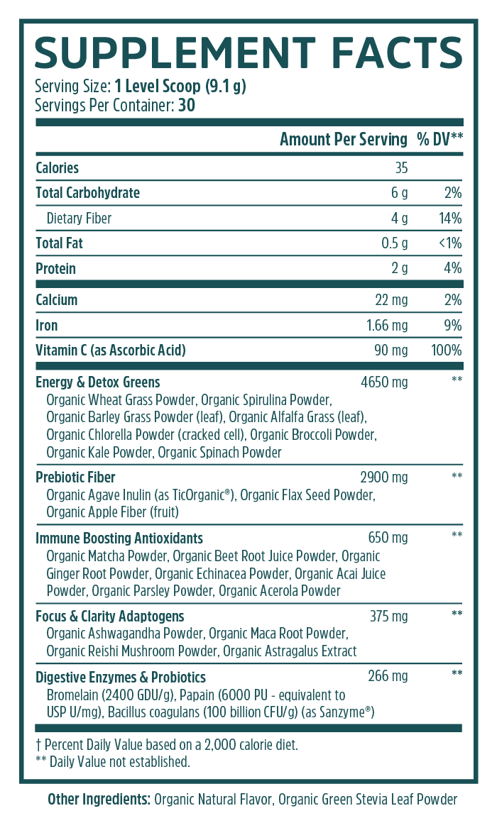 Deep Greens Nutrition Label