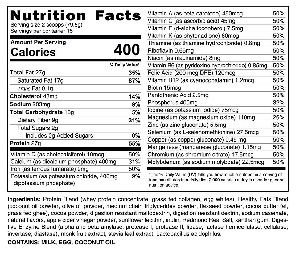 Complete Meal HLTH nutrition label