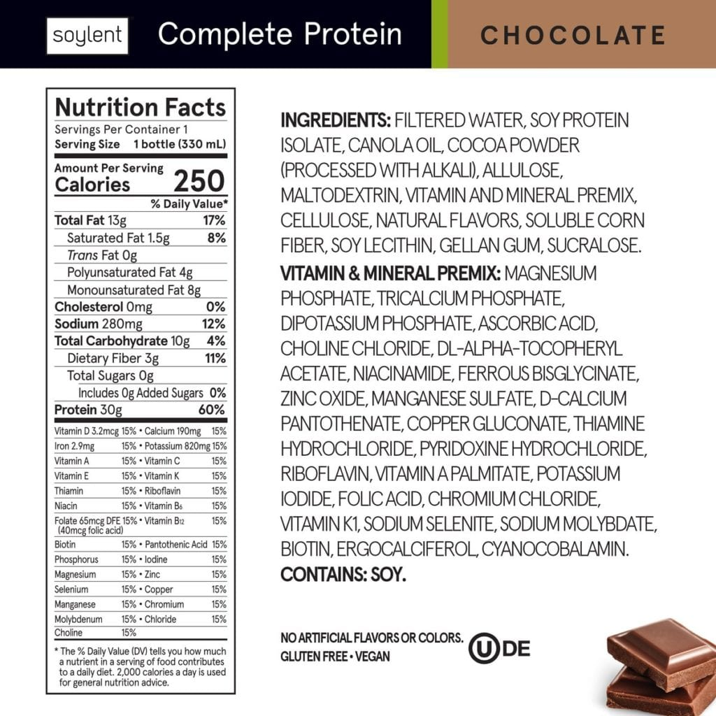 Complete Protein Nutrition Label